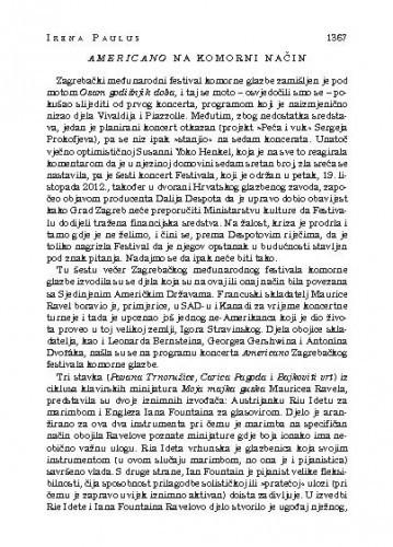 Americano na komorni način : [glazbena kronika] / Irena Paulus