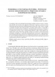 Pomorska i unutarnja plovidba - povezani sustav odgovornosti u prijevozu stvari u europskim okvirima / Ivo Grabovac