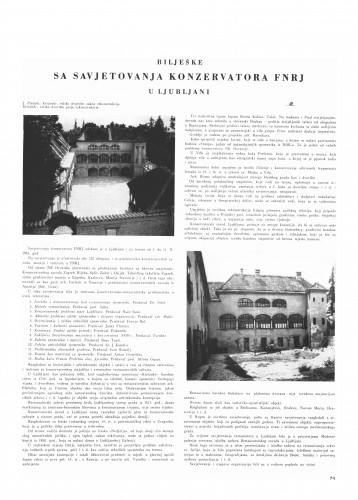Bilješke sa savjetovanja konzervatora FNRJ u Ljubljani / Miroslav Montani