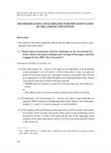IMO Reservation and Guidelines for Implementation of the Athens Convention = IMO rezerva i smjernice za primjenu Atenske konvencije / prijevod: Dorotea Ćorić, Adriana Vincenca Padovan, Jasenko Marin, Mišo Mudrić