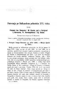 Putovanja po Balkanskom poluotoku XVI. vieka : <17.> Putopisi Jos. Rosaccia i M. Quada, put u Carigrad L. Barnarda, Tr. Korobejnikova i Gj. Douse / P. Matković