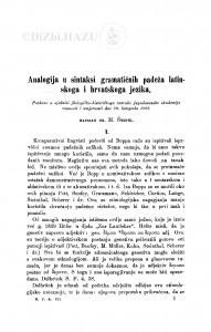 Analogija u sintaksi gramatičnih padeža latinskoga i hrvatskoga jezika / M. Šrepel