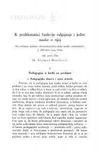K problematici funkcije odgajanja i jedne nauke o njoj / S. Matičević