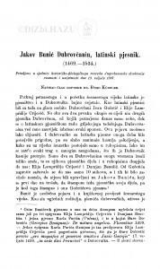 Jakov Bunić Dubrovčanin, latinski pjesnik : (1469-1534.) / Đ. Körbler