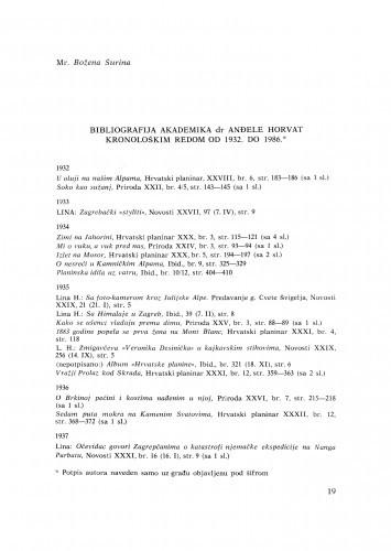 Bibliografija akademika dr Anđele Horvat kronološkim redom od 1932. do 1986.