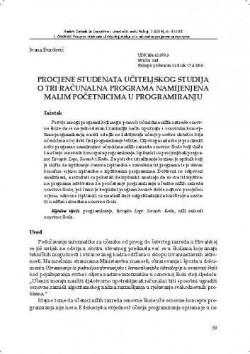 Procjene studenata učiteljskog studija o tri računalna programa namijenjena malim početnicima u programiranju / Ivana Đurđević