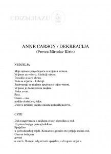 Anne Carson - Dekreacija / Anne Carson ;  preveo Miroslav Kirin