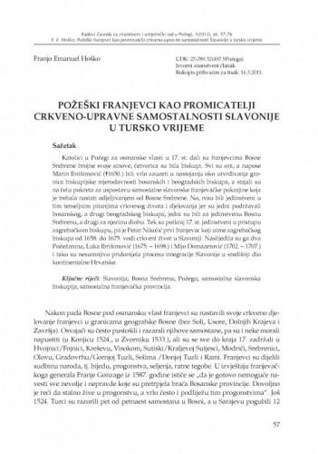 Požeški franjevci kao promicatelji crkveno-upravne samostalnosti Slavonije u tursko vrijeme / Franjo Emanuel Hoško