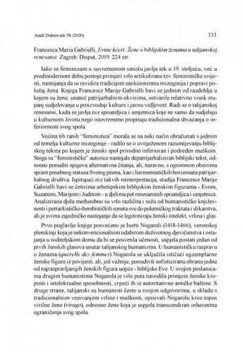 Francesca Maria Gabrielli, Evine kćeri. Žene o biblijskim ženama u talijanskoj renesansi. Zagreb: Disput, 2019 : [prikaz] / Lovro Kunčević