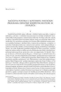 Kačićeva poetika u kontekstu poetičkih programa hrvatske književne kulture 18. stoljeća / Dunja Fališevac