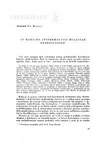 In margine epidermolysis bullosae hereditariae / F. Kogoj