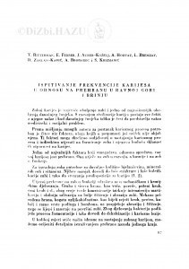 Ispitivanje frekvencije karijesa u odnosu na prehranu u Ravnoj Gori i Brinju / V. Ritterman, E. Ferber, J. Aurer-Koželj, A. Horvat, L. Bremzay, D. Zaklan-Kavić, A. Brodarec i S. Krizmanić