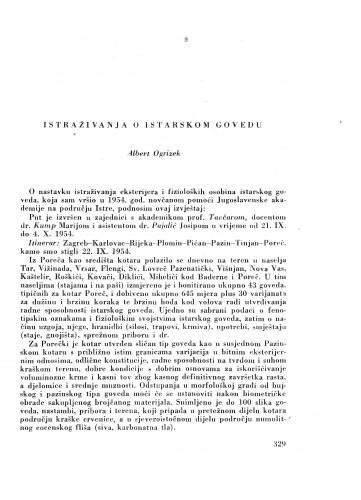 Istraživanja o istarskom govedu / A. Ogrizek