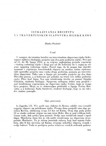 Istraživanja briofita na travertinskim slapovima rijeke Krke / Z. Pavletić
