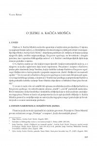 O jeziku A. Kačića Miošića / Vlasta Rišner