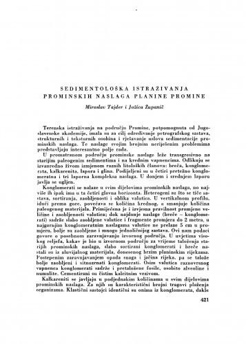 Sedimentološka istraživanja prominskih naslaga planine Promine / M. Tajder i J. Županić