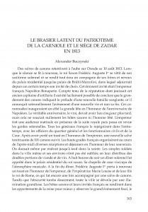 Le brasier latent du patriotisme de la Carniole et le siege de Zadar en 1813 / Alexander Buczynski ; prevela s hrvatskog na francuski Florence Fabijanec