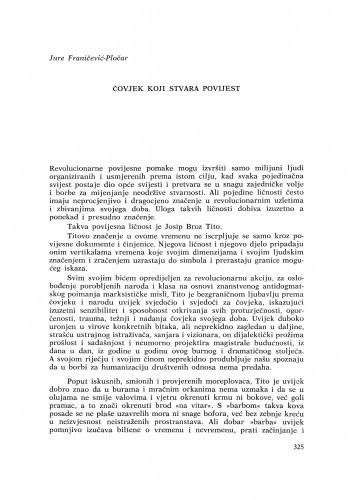 Čovjek koji stvara povijest / J. Franičević-Pločar