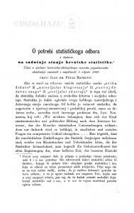 O potrebi statističkog odbora s obzirom na sadašnje stanje hrvatske statistike / P. Matković