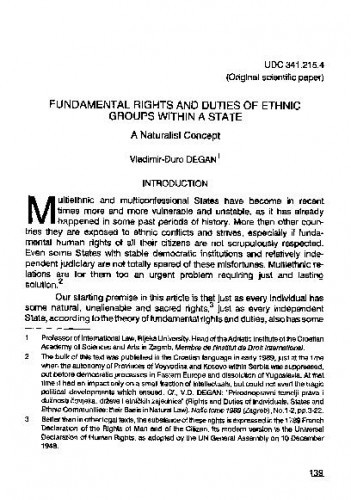 Fundamental rights and duties of ethnic groups within a state : A naturalist concept / Vladimir-Đuro Degan