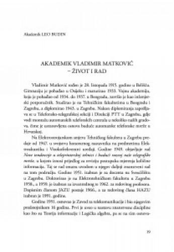 Akademik Vladimir Matković - život i rad / Leo Budin
