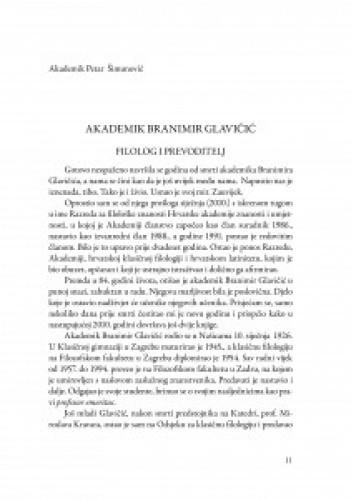 Akademik Branimir Glavičić : filolog i prevoditelj / Petar Šimunović