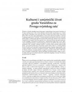 Kulturni i umjetnički život grada Varaždina za Prvoga svjetskog rata / Ana Kaniški
