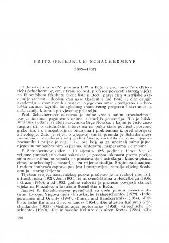 Fritz (Friedrich) Schachermeyr (1985-1987) : [nekrolozi] / Božidar Čečuk