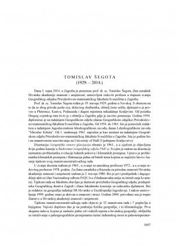 Tomislav Šegota (1929.-2014.) : [nekrolog] / Nenad Buzjak