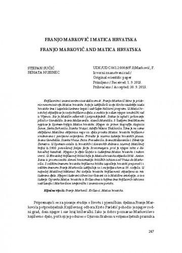 Franjo Marković i Matica hrvatska / Stjepan Sučić, Renata Husinec