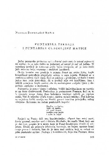 Puntarska predaja i puntarske glagoljske matice / N. Bonifačić-Rožin