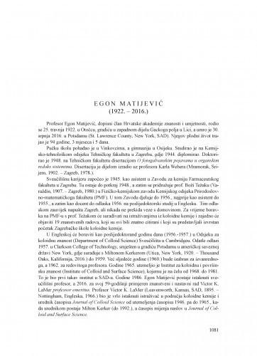 Egon Matijević (1922.-2016.) : [nekrolog] / Nenad Trinajstić