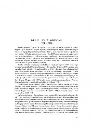 Berislav Klobučar (1924.-2014.) : [nekrolog] / Nikša Gligo