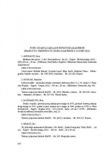 Popis izdanja Zaklade Hrvatske akademije znanosti i umjetnosti objelodanjenih u godini 2012.