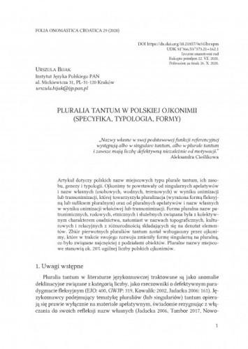Pluralia tantum w polskiej ojkonimii (specyfika, typologia, formy) / Urszula Bijak