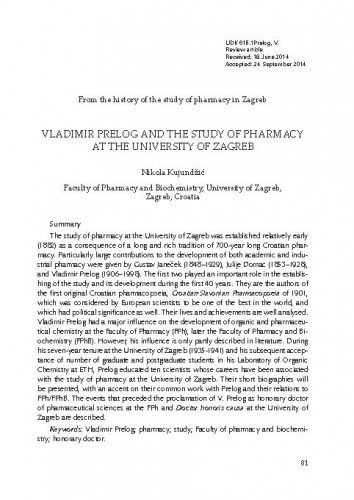 Vladimir Prelog and the study of pharmacy at the University of Zagreb