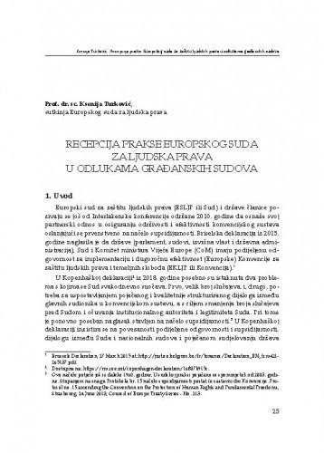 Recepcija prakse Europskog suda za ljudska prava u odlukama građanskih sudova : [uvodno izlaganje] / Ksenija Turković