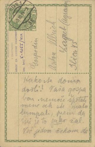 Dopisnica Naste Rojc Antunu Ullrichu, Beč, 9.3.1914.