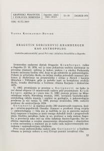 Dragutin Gorjanović-Kramberger kao antropolog / V. Kochansky-Devidé