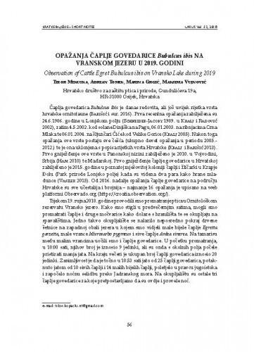 Opažanja čaplje govedarice Bubulcus ibis na Vranskom jezeru u 2019. godini : [short note] / Tibor Mikuska, Adrian Tomik, Marina Grgić, Maksima Vujnović