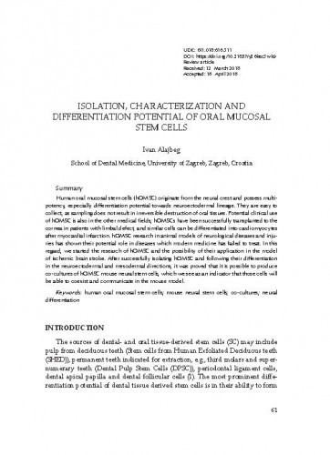 Isolation, characterization and differetiation potential of oral mucosal stem cells / Ivan Alajbeg