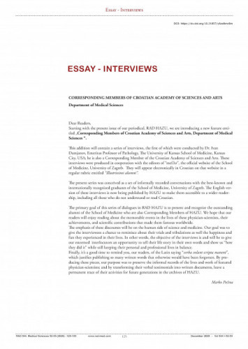 Essay - Interviews : Corresponding Members of Croatian Academy of Sciences and Arts, Department of Medical Sciences / Marko Pećina, Ivan Damjanov
