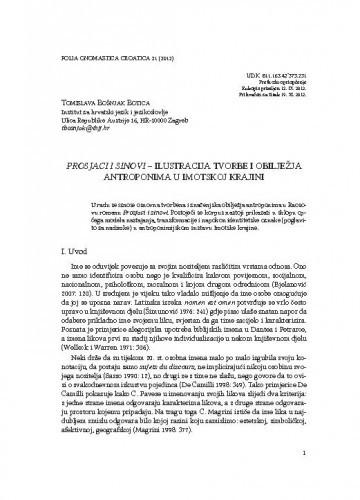 Prosjaci i sinovi - ilustracija tvorbe i obilježja antroponima u Imotskoj krajini / Tomislava Bošnjak Botica