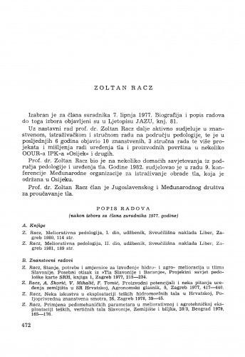 Zoltan Racz : [biografije novih članova Akademije]