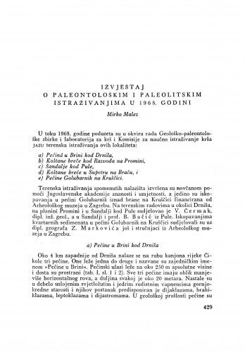 Izvještaj o paleontološkim i paleolitskim istraživanjima u 1968. godini / M. Malez