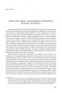 Sačuvani oblici tradicijskog izvođenja stihova iz Kačića / Jakša Primorac