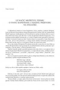 Uz Kačić Miošićevu pjesmu o Ivanu Kapistranu i njezinu prijevodu na engleski / Vinko Grubišić