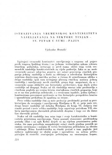 Istraživanja vremenskog kontinuiteta naseljavanja na sektoru Tinjan - Sv. Petar u šumi - Pazin / V. Bratulić