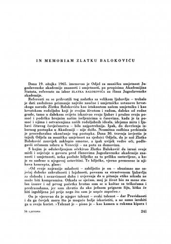In memoriam Zlatku Balokoviću