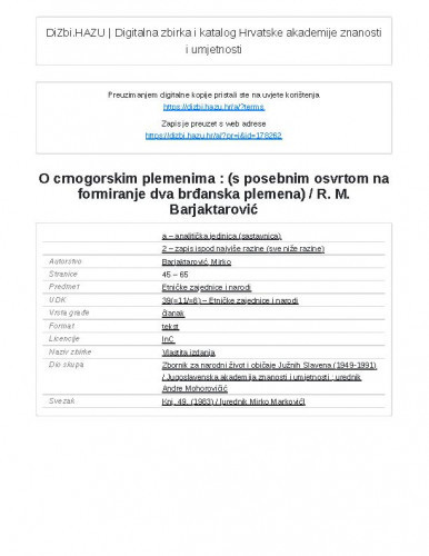 O crnogorskim plemenima : (s posebnim osvrtom na formiranje dva brđanska plemena) / R. M. Barjaktarović